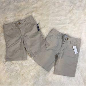 2 NEW Girls Old Navy Uniform Khaki Shorts Sz 7